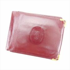 Cartier Wallet Purse Mastline Red Gold leather Woman unisex Authentic Used D1811