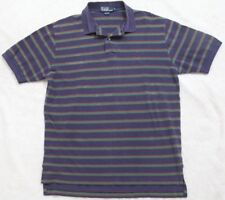 Ralph Lauren Polo Shirt Men's Short Sleeve Striped Navy Blue Green Red Man Large