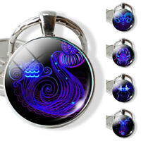 Cool 12 Constellation Zodiac Sign Glass Pendant Key Ring Holder Keychain Gift Co