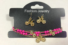 Bracelet & Earring Jewelry Set - Pink Bike