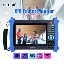 """4K 7"""" IPC Camera Monitor Tester CVBS IP Discovery 8GB HDMI Touch Screen WIFI PoE"""