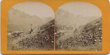 Pyrénées Montée de la Picarde France Vintage stereo stereoview