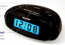 Sharp Mini Digital Alarm Clock Battery Power Backlight Black Compact Travel Home