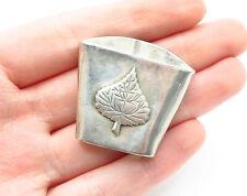 925 Sterling Silver - Vintage Floral Leaf Detailed Smooth Belt Piece - T1949