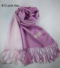 New Scarf Pink Lilac Wrap Shawl Tassel Long Lady Women Winter Solid Pure Color