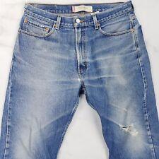 Levis 505 Distressed Regular Fit Straight Leg Blue Jeans, Mens 33x26 (Tag 34x30)