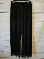 Women's Oak + Fort Wide Leg Pants Size Large Black Metallic Dressy Elastic Waist