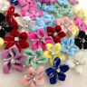 20 pcs Velvet Ribbon Flowers Bows W/beads Appliques Wedding Decor 25mm E294