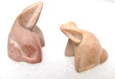 Pair of Zumi Stone Miniature Handcarved Peach Frog Posing Fetish Dendrite Stone