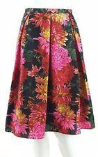 Talbots Petites Skirt 8P 8 Box Pleats Silk Pink Red Black Chrysanthemum NWT $118