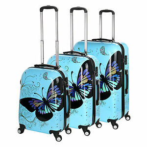 Blue Butterfly 4 Wheel Hard Shell Suitcase PC Luggage Trolley Case in 3 Sizes