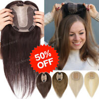 """Women Topper Clip In Remy 100% Virgin Human Hair Top Hairpiece Toupees 20"""" W598"""