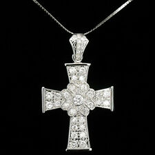 "Cross Faith Religious Pendant Necklace Large CZ Clear Costume Jewelr 18k GP 2.5"""