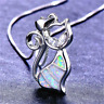 Charm White/Blue Fire Opal Cat Pendant Necklace Womens 925 Silver Jewelry Gifts