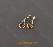 Italian Made Classic Baltic Amber Drop Earring in 9ct Gold GE0115 RRP £200!!!