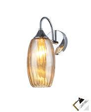 Wandleuchte MARANO 1-flammige Bernstein Glas Metall Chrom Dimmbar Lampe Leuchten