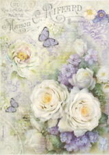 Rice Paper for Decoupage Scrapbook Craft Sheet - Roses and Butterfly