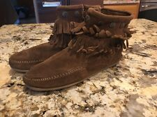 Minnetonka Moccasins Fringed Suede Ankle Boot Boho Brown Size 7 EUC