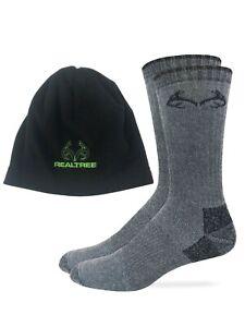 Realtree Mens Merino Wool Blend Boot Socks Fleece Beanie 1 Pair Pack Combo