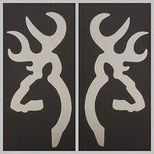2 NEW SILVER BROWNING DEER BUCK DOE DECAL STICKER LOGO EMBLEM BOW RIFLE SHOOTING
