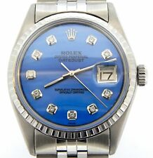 Rolex Datejust Mens 1603 Stainless Steel Watch Blue Mother of Pearl Diamond Dial