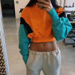 Fashion Women Hoodie Sweatshirt Sweater Crop Top Long Sleeve Coat Pullover USA