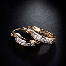 Stunning CZ Crystal Jewelry 18k Gold Filled Women Friendship Hoop Stud Earrings