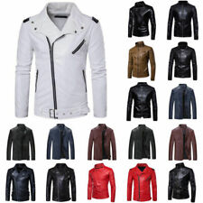 Men's Fashion Slim Fit Biker Motorcycle Top PU Leather Jacket Coat Black Fashion