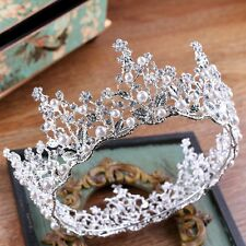 7cm High Pearl Flower Crystal Silver Large Crown Wedding Prom Party Pageant