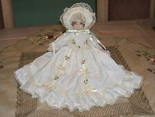 Porcelain Doll in Christening Gown Newborn  Baby Music Box Rock A Bye Baby