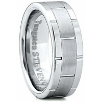 Men's 8mm Wide Tungsten Carbide Band Comfort Fit Ring Round High Polish -TCR019