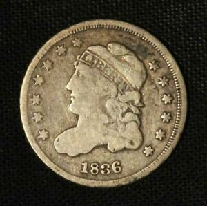 1836 5c Capped Bust Silver Half Dime - Free Shipping USA