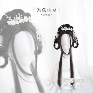 Chinese Ancient Custom Hair Wig Archaic Traditional WholeHairpiece Hanfu Cosplay