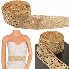 Hand Beaded Bridal Border 9 YD Trim Golden Craft Lace COLLECTIBLE EDH