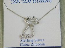 B. Brilliant 18-Inch Sterling Silver, Cubic Zirconia Cat Necklace #1483