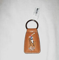 POLO Ralph Lauren Brown Leather Key Chain Fob NWT Embroidered Signature Pony