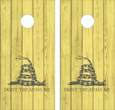 Don't Tread On Me Gadsden flag Wood Cornhole Board Skin Wrap Decal LAMINATED