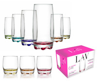 6pc Tall Long Wide Tumbler Glass Set Curved Coloured Glassware Water Juice Wine