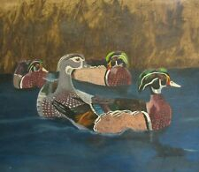 "C297 ORIGINAL OIL PAINTING BY LJH ""WOOD DUCKS"" ON CANVASBOARD"