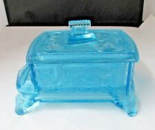 New  MARTINSVILLE VIKING ART GLASS STOVE BLUE NOVELTY  BUTTER DISH BUTTONS BOWS