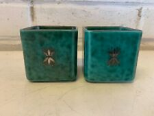 """Ant Gustvsberg """"Argenta"""" William Kage Pair of Square Dishes w/ Silver Floral Dec"""