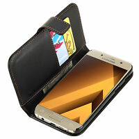 Black PU Leather Flip Wallet Phone Case Cover for Samsung Galaxy A5 (2017)