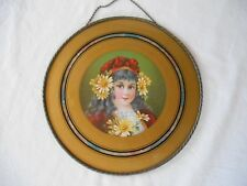 "Antique 10.5"" FLUE COVER YOUNG GYPSY GIRL RED HAT w/BOW & YELLOW DAISIES in HAIR"