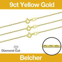 "9ct Yellow Gold Diamond Cut Belcher Jewellery Chain 16-20"" Necklace Hallmarked"