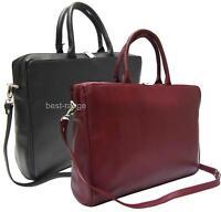 Visconti Leather Ladies Briefcase Laptop Bag Designer Large Red or Black New