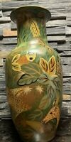 Large 17 in Hand Painted Jungle  Animals Green and Brown Ceramic Vase