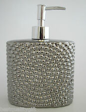 METALLIC SILVER 3-D BEAD DESIGN CERAMIC SOAP,LOTION DISPENSER KITCHEN,BATHROOM