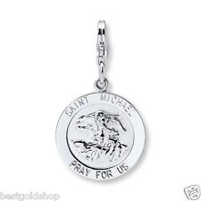 Saint Michael Pray For US Medal Charm Pendant Solid 925 Sterling Silver 12X20mm