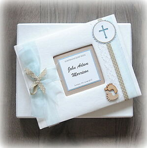 PERSONALISED BABY BOY CHRISTENING/ BAPTISM GUEST BOOK Handmade boxed LARGE!