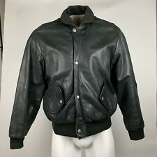 Charles Chevignon Vintage Casual Leather Jacket Pilots Black Size L *AS IS*